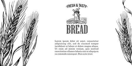 Mill, Wheat field, Ears. Engraving illustration