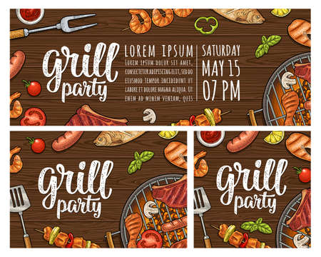 Template restaurant or cafe bbq posters. Grill calligraphic handwriting lettering. Shrimp, tomato, pepper, sausage, chicken leg, beef, fish steak. Color vector vintage engraving illustration on wood