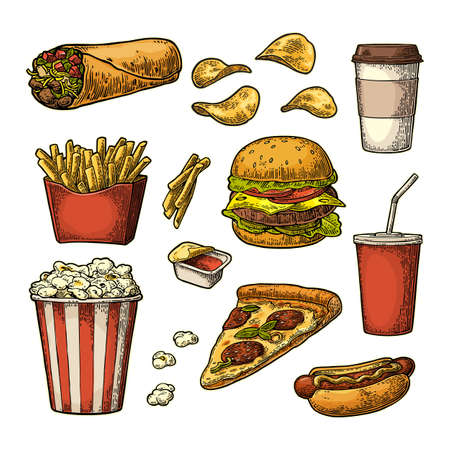 Set fast food. Cup cola, coffee, chips, burrito, hamburger, pizza, hotdog, fry potato in paper box, carton bucket popcorn, ketchup. Isolated white background. Vector vintage engraving illustration