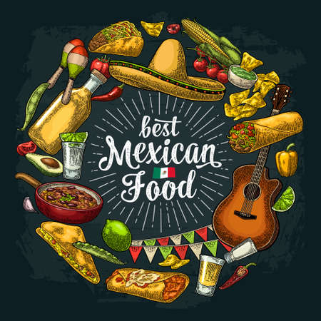 Best mexican food handwriting lettering. Circle shape set with sombrero, tequila, guitar, burrito, tacos, nachos, chili, agave, lime vector vintage engraving illustration on dark background