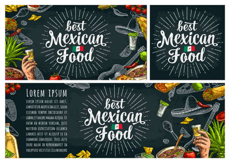 Best mexican food handwriting lettering. Sombrero, tequila, guitar, burrito, tacos, nachos, chili, agave, lime vector vintage engraving illustration on dark background Illustration