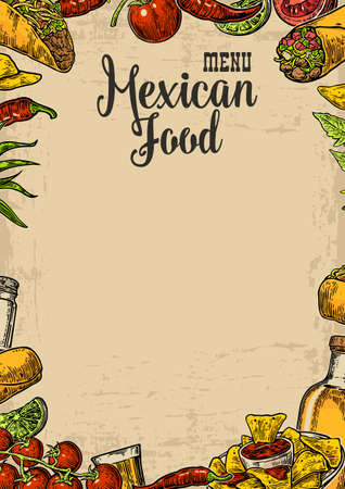 Mexican traditional food restaurant menu template with traditional spicy dish. burrito, tacos, chili, tomato, nachos, tequila, lime. Vector vintage engraved illustration on beige old paper texture background.  イラスト・ベクター素材