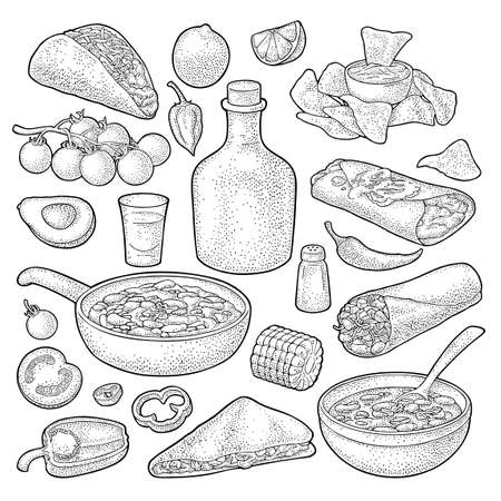 Mexican traditional food set with Guacamole, Quesadilla, Enchilada, Burrito, Taco, Nachos, tequila, chili con carne with ingredient. Vector vintage black engraving illustration isolated on white background.