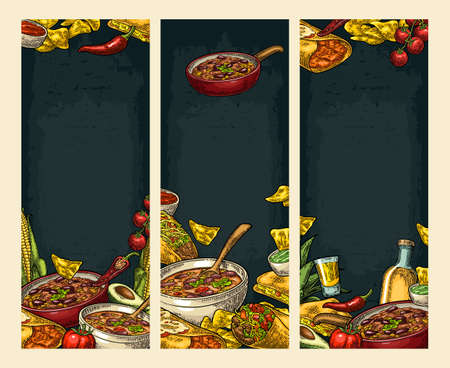 Vertical posters with Mexican traditional food and ingredient. Guacamole, Quesadilla, Enchilada, Burrito, Tacos, Nachos, Chili con carne. Vector vintage engraved illustration on dark background