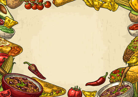 Mexican traditional food restaurant menu template with Guacamole, Quesadilla, Enchilada, Burrito, Tacos, Nachos, Chili con carne and ingredient. Vector color engraving illustration on beige background
