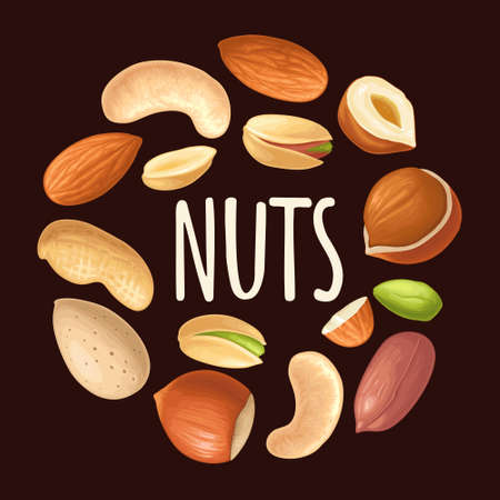 Set whole and half nut seed. Vector color realistic illustration. Isolated on black background. Handwriting lettering hazelnut, peanut, almond, cashew, pistachio