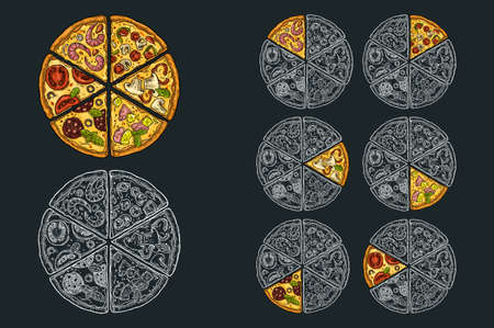 Square poster with monochrome and color slice pizza Pepperoni, Hawaiian, Margherita, Mexican, Seafood, Capricciosa. Vintage vector engraving illustration. For menu, box. Isolated on black background