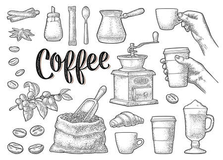 Set coffee. Beans, wooden scoop, sack, grinder, branch, glass latte with whipped cream. Female hand hold cup. Vintage black vector engraving isolated on white. Calligraphic handwriting lettering