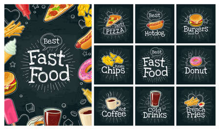 Set fast food and bubble. Cola, coffee, hamburger, hotdog, fry potato, ketchup, pizza, chips, donut. Vector color flat icon on black chalkboard. Vintage white chalk vintage rays, lettering, bubble