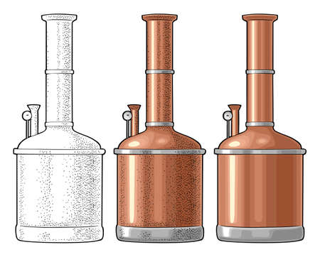 Brewery factory beer. Isolated on white background. Vintage vector color and black engraving illustration for web, poster, label, invitation to oktoberfest festival and party.
