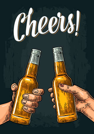 Female and male hands holding and clinking open beer bottles. Cheers toast lettering. Vintage vector color engraving illustration for web, poster, invitation to party. Isolated on dark background. 向量圖像