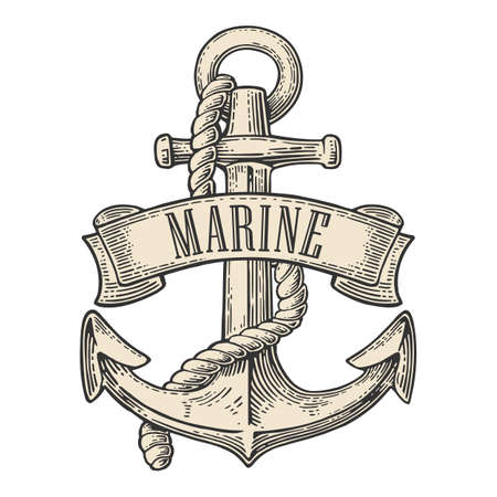 Anchor with ribbon and rope isolated on white background. Vector vintage engraving illustration with title MARINE