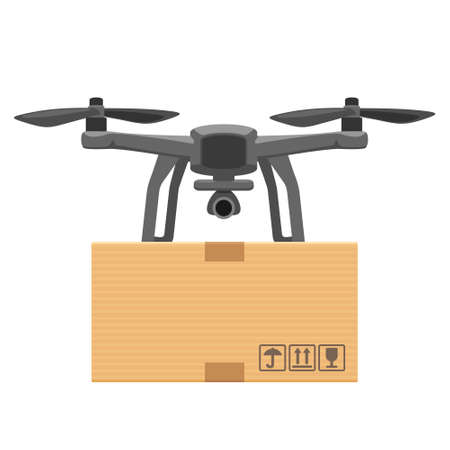 Fly drone carries a package. Flat vector cartoon illustration for fast online delivery from phone. Ilustracja