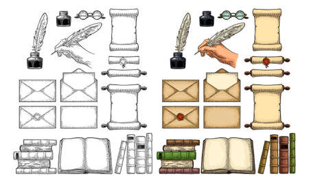 Set education. Inkwell, envelopes, pile of old books, scroll with seal, hand holding goose feather, glasses. Isolated on white background. Vector color vintage engraving illustration