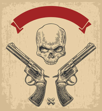 Two revolver with bullets, skull and ribbon. Vector engraving illustrations. Isolated on beige vintage background. For tattoo, web, shooting club and label