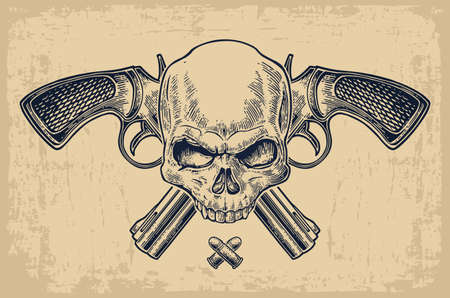Two crossed revolver with bullets and skull. Vector engraving illustrations. Isolated on beige vintage background. For tattoo, web, shooting club and label