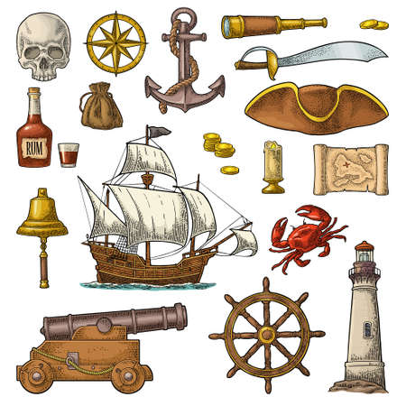 Set pirate adventure. Anchor, rum bottle, cannon, tricorn, wheel, money bag, coins, skull, saber, caravel, compass, spyglass, lighthouse isolated on white background. Vector color vintage engraving Stock Illustratie
