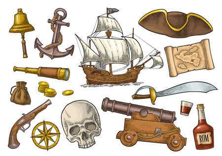 Set pirate adventure. Cannon, rum bottle, coins, saber, map, caravel, compass rose, spyglass, flintlock pistol isolated on white background. Vector color vintage engraving