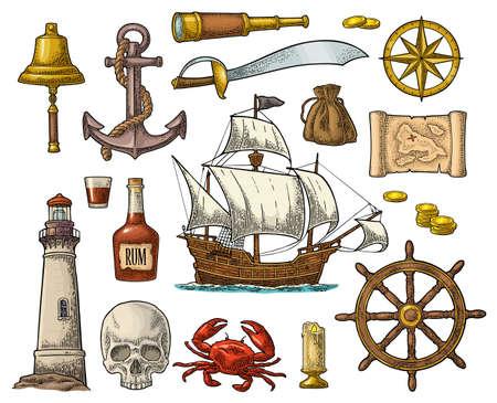 Set pirate adventure. Anchor, rum bottle, wheel, money bag, coins, skull, saber, crab, caravel, compass rose, spyglass bell lighthouse isolated on white background Vector color vintage engraving Stock Illustratie