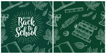 Seamless pattern with leaf, book, bell and lettering Welcome Back to School. Vector vintage engraving illustration on dark green background