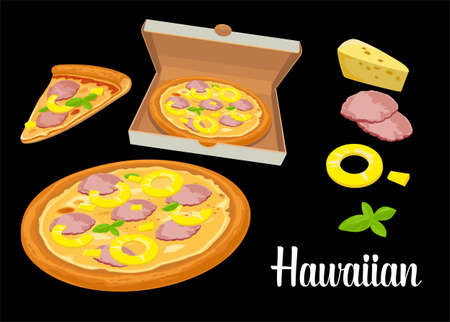 Whole pizza and slices of pizza Hawaiian in open white box. Isolated vector flat illustration on white background. For poster, menus, brochure, web, delivery business, food box and icon.