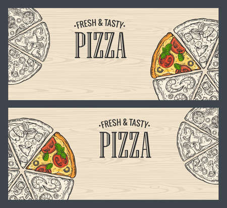 Horizontal poster with monochrome and colorful slice pizza Pepperoni, Hawaiian, Margherita, Mexican, Seafood, Capricciosa. Vintage vector engraving illustration. For menu, box. Isolated on seamless pattern wood background