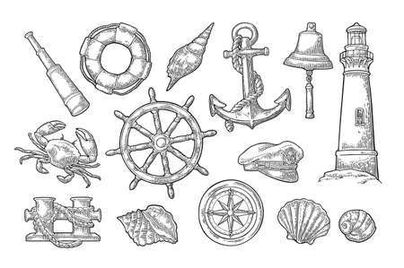 Set sea adventure. Anchor, wheel, bollard, hat, compass rose, shell, crab, bell, lifebuoy, lighthouse isolated on white background. Vector black vintage engraving illustration. For poster yacht club.