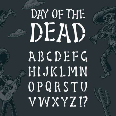 Alphabet is made of bones. Vector font for Mexican Day of the Dead, Halloween and Dia de los Muertos, the day of death. Concept pirate letters