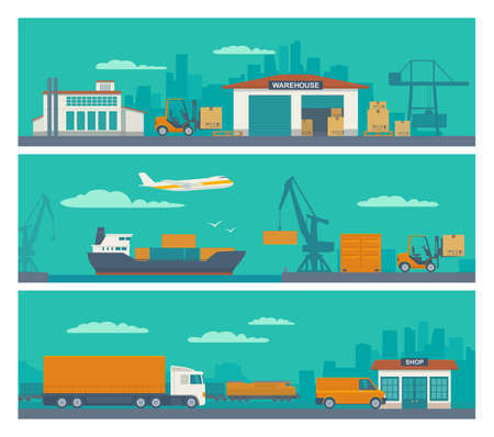Logistic concept flat banner production process from factory to the shop. Warehouse, ship, truck and car. Wide panoramic vector illustration for business, info graphic, web, presentations, advertising. Ilustração Vetorial