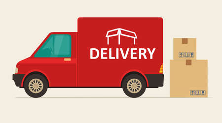 Red delivery van with shadow and cardboard boxes with fragile signs. Product goods shipping transport. Flat vector illustration for web, icon, banner, info graphic.