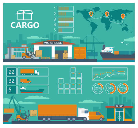 Logistic concept flat banner production process from factory to the shop. Warehouse, ship, truck and car. Wide panoramic vector illustration for business, info graphic, web, presentations, advertising. Stock Illustratie