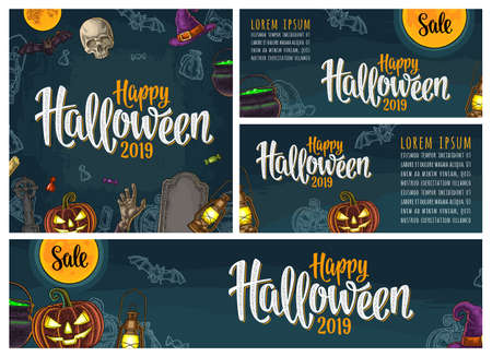Posters with Happy Halloween 2019 handwriting calligraphy lettering. Vector color vintage engraving pumpkin with scary face, lamp, moon, bat, skull, witch hat, hand, cauldron, cross, grave.