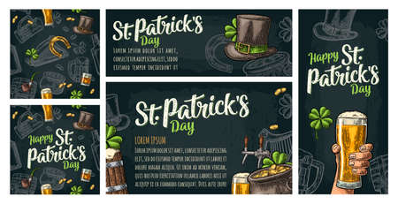 Seamless pattern and poster for beer party. Top hat, pot gold coins, pipe, glass, lyre, horseshoe, clover, barrel. St. Patrick s Day lettering. Vintage color vector engraving illustration on dark