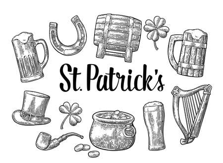 Saint Patrick s Day. Top gentleman hat, Pot of gold coins, smoking pipe, beer glass, lyre, horseshoe, clover, barrel. Vector vintage engraved illustration. Isolated on white background.