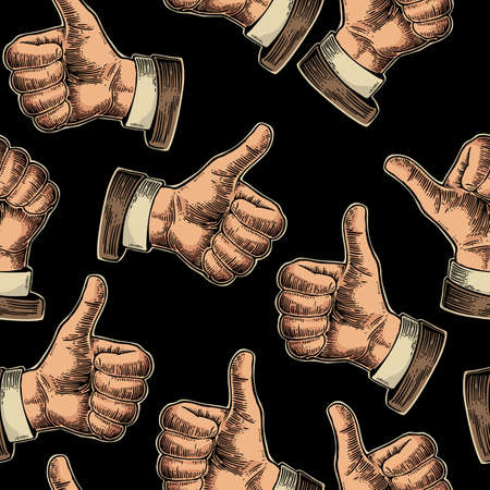 Seamless Pattern hand showing symbol Like. Making thumb up gesture. Drawn design element. Vector color vintage engraved illustration isolated on a black background. Sign for web, poster, info graphic