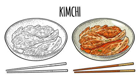 Korean food kimchi on plate with chopsticks. Vintage color vector engraving illustration. Isolated on white background. Hand drawn design element for label, poster, menu