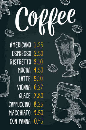 Restaurant or cafe menu coffee drink with price. Hand holding a cup, beans, stick cinnamon, branch with leaf and berry. Vintage white vector engraving illustration on dark background.