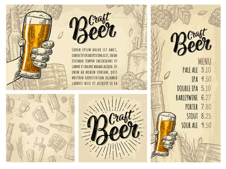 Seamless pattern and poster for beer party. Tap, class, barrel, can, bottle and hop. Craft Beer calligraphic lettering with rays. Vintage vector engraving illustration isolated on beige spotted texture Stock Illustratie