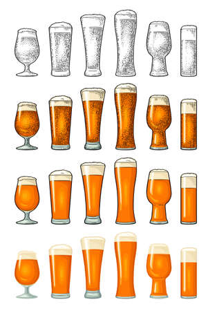 Different types beer glasses. Vintage color vector engraving illustration and flat icon. Isolated on white background. Stock Illustratie