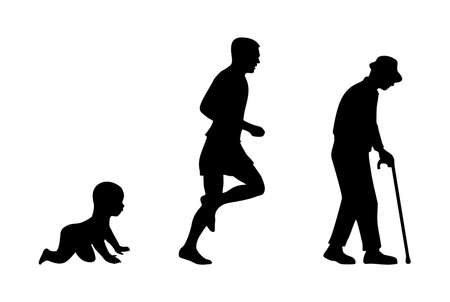 Growing stages of the boy to a man and grandfather. Side view. Vector black flat icon isolated on white background. Stock Illustratie