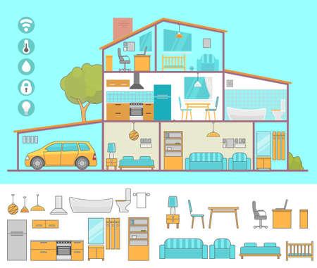 Interiors room with furniture. Flat style vector illustration. Stock Illustratie