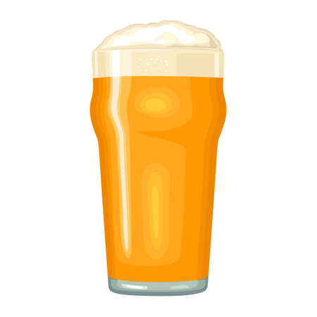 Glass with light yellow beer with foam. Vector color flat icon. Isolated on white background. Stock Illustratie