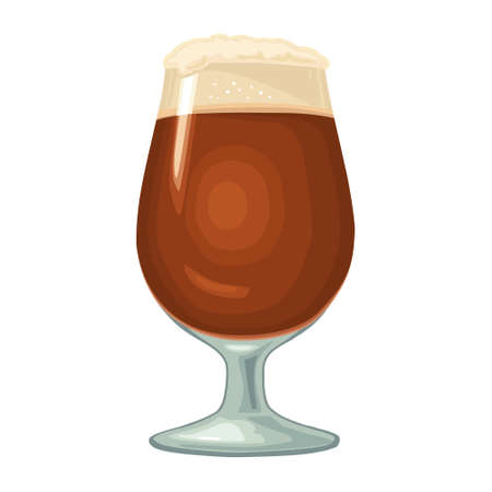Glass with brown beer with foam. Vector color flat icon. Isolated on white background. Stock Illustratie