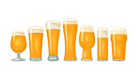 Different types beer glasses. Vector color flat icon. Isolated on white background. Stock Illustratie