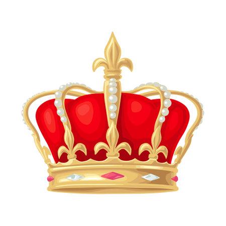 King crown. Vintage vector color illustration. Isolated on white background. Hand drawn design element Vektoros illusztráció