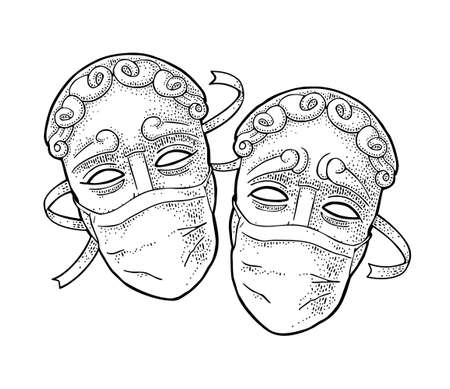 Comedy and tragedy theater disguises with medical masks. Vector engraving vintage black illustration