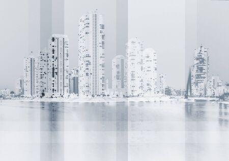 paisaje urbano en fondo azul  Foto de archivo