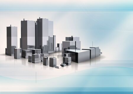3d building on abstract background Stock Photo