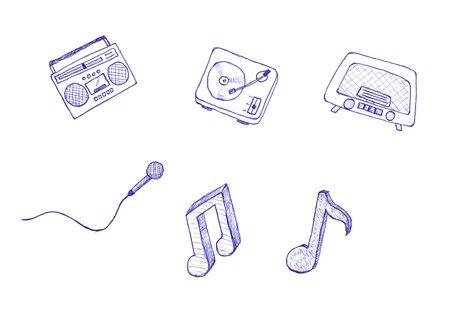 Ilustra un conjunto de diversos instrumentos musicales y s�mbolos, aislados sobre fondo blanco.