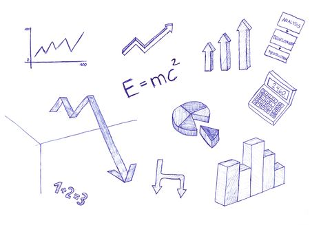 An illustrated set of elements related to science showing equations and graphs.